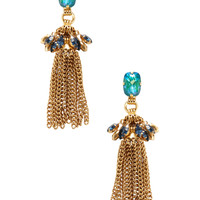 Elizabeth Cole Women's Crystal Tassel Drop Earrings - Blue