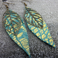 Long, Leather Earring, Gold Earring, Animal Print, Womens Jewelry, Snakeskin, Leather Jewelry, Bronze Leaf, Charm, Bohemian, Hippie, Hipster