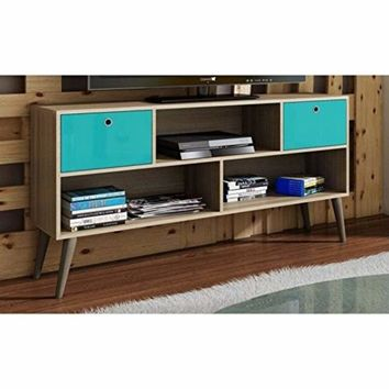 Modern Uppsala TV Stand with 3- Shelves and 2- Drawers in Oak and Aqua