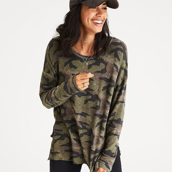 AEO Soft & Sexy Plush Drop-Shoulder Sweatshirt, Olive