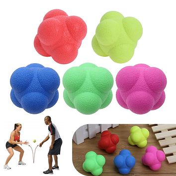 Outdoor Sports Silicone Hexagonal Ball Fitness Agility Coordination Reflex Exercise Workout equipment Training Reaction Ball