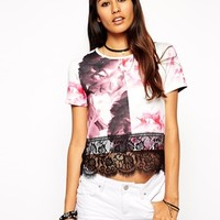 ASOS Scuba T-shirt in Floral with Lace Hem