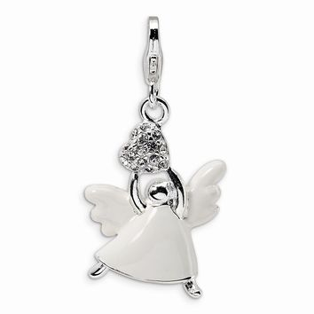 Sterling Silver Enameled Made with  Crystal Angel w/Lobster Claw Clasp Charm