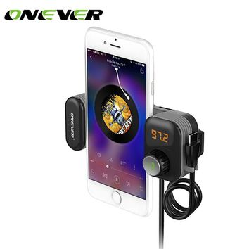 Onever T15 2 in 1 Smart Phone Holder FM Transmitter Rotatable Bluetooth FM Transmitter MP3 Player Modulator USB Car Quick Charge