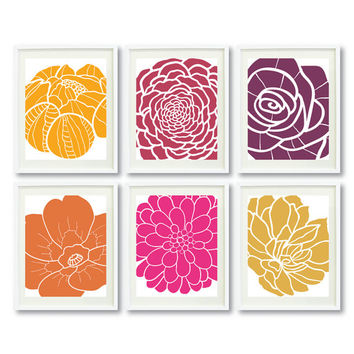 Modern Flower Art Print Set-Six 8x10-Yellow-Purple-Orange-Honey Gold-Hot Pink-Burgandy OR Choose colors - Abstract Floral - Grouping-6