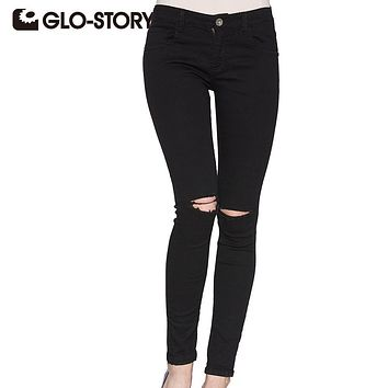 GLO-STORY 2017 Skinny jeans woman black Hole Ripped Jeans High waist Fashion chic sexy Distressed women Denim Pants femal 3295