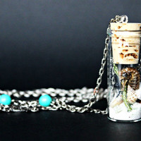 Seahorse In a Jar Necklace, Green Quartz, Sand, Shells - Jewelry // Salty Sea