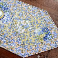 Quilted Floral Table Runner - Blue Yellow Table Runner - Summer Table Runner - Mother's Day Gift - French Country Floral Table Runner