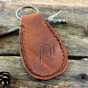 Personalized Leather Keychain,  Handwritten, Personalized Custom Leather Keychain