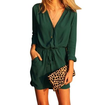 sundress summer Women V Neck Green Long Sleeve Chiffon Party Dress