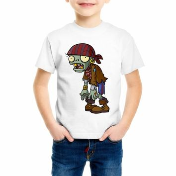 Plants vs zombies clothing Children clothes Cartoon game pattern boys t shirts O-Neck T-shirt plants vs zombies children 55C-15