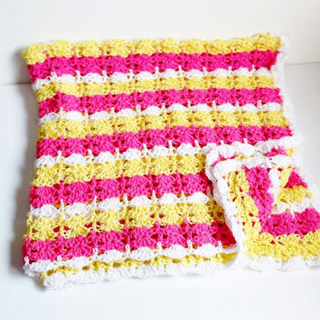 Crochet Baby Blanket, Girls Blanket, Pink and Yellow, Striped Baby Blanket, Knit Baby Afghan, Toddler Blanket, Crib Blanket, For Baby Girls