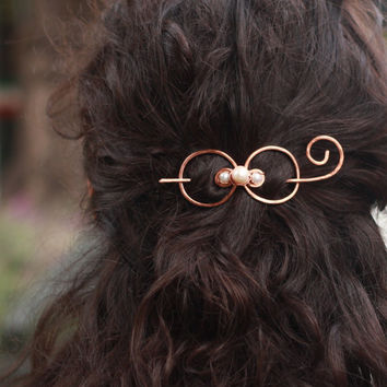 Hair bow, copper, hair barrette, hair spirals, hair clip, hair pin, shawl pin, brooch, valentine's day, hair accessory, for her, bridesmaid