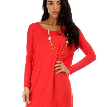 RED PLUS SIZE LYSS LOO OVERSIZED TUNIC DRESS