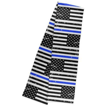 PEAPGQ9 Distressed Thin Blue Line American Flag Warm Fleece Scarf