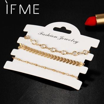 IF ME Fashion 3pcs Gold Color Arrow Bracelets Crystal Rhinestone Combination Bracelet Set for Women Bohemian Friendship Bracelet