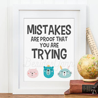 Elementary Classroom Poster, Mistakes are Proof That You Are Trying, Classroom Sign, Kindergarten Print, Inspiring Classroom Quote
