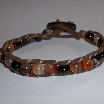 Unisex Men's Ladies' Natural Red Jasper Beaded Artisan Crafted Leather Macrame Bracelet