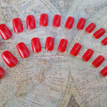 24 Short Bright Red Nails - Press on Nails - Glue on Nails - Bright Red Goth Vampire Nails - Short Nails - Square Tip Nails