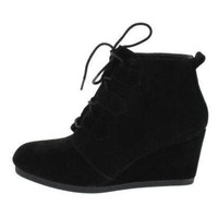 Classic Black Lace Up Ankle Booties Platform Wedges