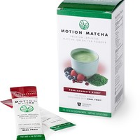 Flavored Premium Matcha Green Tea To Go, Sweetened with Real Fruit (Pomegranate Berry) (12 single serving packets)