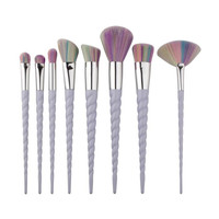 Professional 10Pcs Unicorn Multicolor Bristled Makeup Brush Set