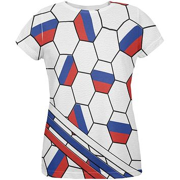 World Cup Russia Soccer Ball All Over Womens T Shirt