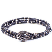 Hand-knotted 3-Layer Wrap Bracelet with Sterling Silver Beads