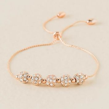 Carmen Fireball Pull Tie Bracelet in Rose Gold