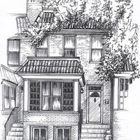 Custom Home Portrait in Pen and Ink by maryfrancessmith on Etsy