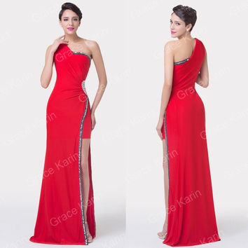 Grace Karin? Red Evening Gown Prom Bridesmaid Brides Wedding Pageant Long Evening Dress = 1956890180