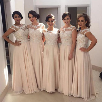 Lace 2017 Chiffon Beach Bridesmaid Dresses Cap Sleeves Beaded Cheap Bridesmaid Gowns Vintage Wedding Party Dresses