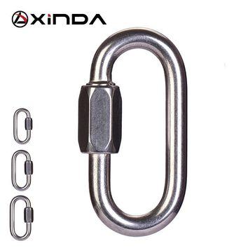 XINDA Brand High quality Professional Safety Master Lock Stainless Steel O-Shape Screw Gates Buckle Lock Carabiner Rock Climbing