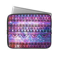 Girly Andes Aztec Pattern Pink Teal Nebula Galaxy Computer Sleeve from Zazzle.com