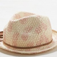 AEO Women's Printed Straw Fedora (Natural)