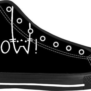 MEOW! Black and white high tops, funny vector cats, animals themed shoes design