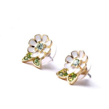 White and Green Stud Earrings