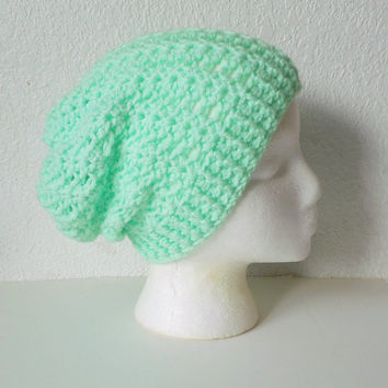 Lacy Mint Green Slouchy Beanie Hat, ready to ship.