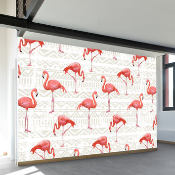 Flamingo Bird Background Wall Mural