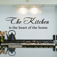 Wall Decal Vinyl Sticker Decals Art Home Decor Murals Quote Decal The Kitchen is the heart of the home Kitchen Wall Decals Cafe Decals V936