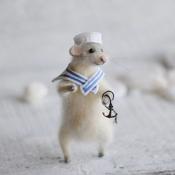 Knitted Nautical Mouse Sea Sailor Stuffed Toy Mouse Seaside Nautical