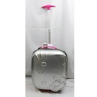 "Hello Kitty 18"" Rolling ABS Luggage Bag Hard Suit Case- Silver Face Bow"