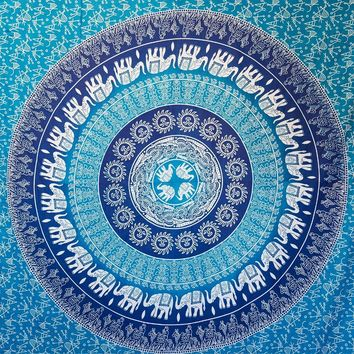 Cilected Blue Elephant Mandala Wall Tapestry Hippie Bohemian Wall Hanging Home Decor Bedspread Room Wall Art