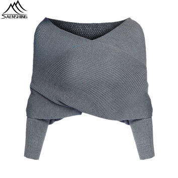 Women Cardigan Fashion Jumper Brand Grey Off the Shoulder Batwing Sleeve Knit Sweater Casual Knitted Crop Cardigan Plus Size