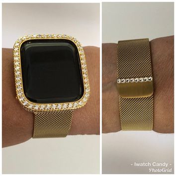 Gold 38mm 40mm 42mm 44mm Apple Watch Band Women Milanese Swarovski Crystal Series 1,2,3 4/Bezel 18k Gold Plated Case Cover 2.5mm Lab Diamond