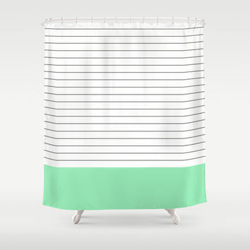 Vintage Dark Grey And Mint Stripes Shower From Society6