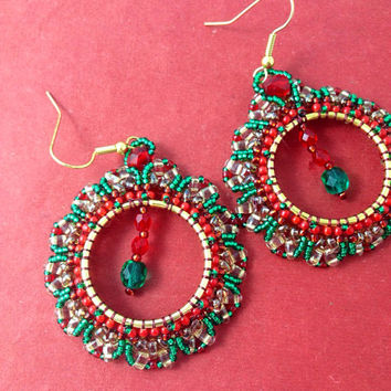 Christmas beaded super duo wreath earrings