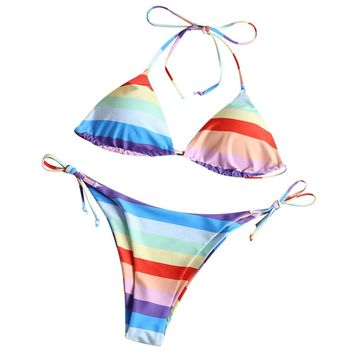 Padded Rainbow Color String Bathing Suit