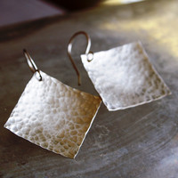 Hammered Sterling Silver Square Earrings