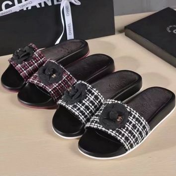 CHANEL  Camellia flat bottomed slippers